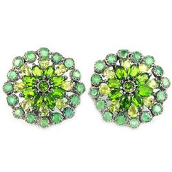 Natural Emerald Peridot & CH-Diopside Earrings