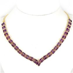 NATURAL AAA PURPLE AMETHYST &  RUBY NECKLACE
