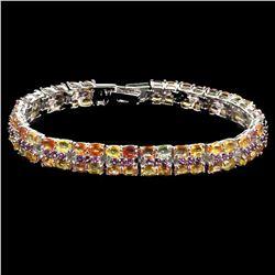 Natural Multi Color Sapphire, Rhodolite Garnet Bracelet