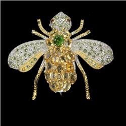 Natural Citrine Peridot Rhodolite Garnet Bee Brooch