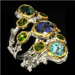 Natural Stunning Rich Blue Tanzanite, Zircon & Diopside