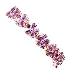 Natural Intense Purple Amethyst Flower 92 Ct Bracelet