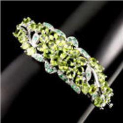 Natural Oval 5x4mm Green Peridot Emerald Bangle