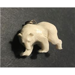 Hand Carved Antler 3D Bear Pendant