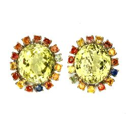 Natural Yellow Lemon Quartz Sapphire 115 Ct Earrings