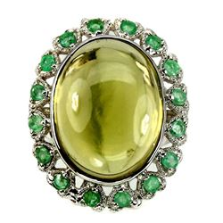 Natural Lemon Quartz & Emerald 48.59 Ct Ring