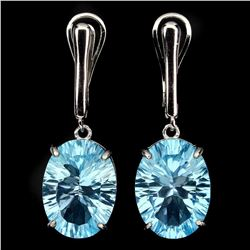 Natural Concave Cut16x12mm Blue Topaz Earrings