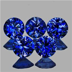 Natural Royal Blue Sapphire 5 Pcs - Flawless