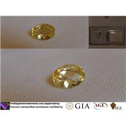 Vivid Lemon-Yellow Sapphire, unheated   GIA 2.70 ct