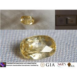 Vivid Yellow Sapphire, unheated, fine cut, GIA 2.03 ct