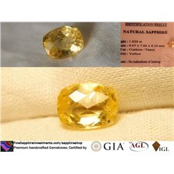 Strong Gold/Yellow Sapphire, unheated   GIA 1.82 ct