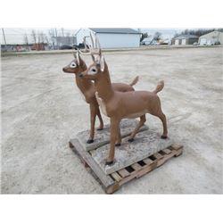 MW- 2 -Cement BUck & Doe Deer Yard Ornaments