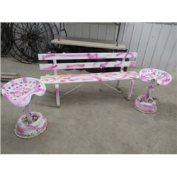 MW- Pkg of 3 Items 1) Metal Yard Bench 6' Wide 2) 2- Metal Implement Yard Seats