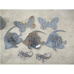 MW- 7 Metal Yard Ornaments, 2 Butterflies, 3 Angel Fish, 2 Dago
