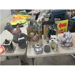 MW- 8- Yard Ornaments , 2) Squirrels 1)Bear 1) Scotty Dog, 3 Lights, 1) Broken Chicken