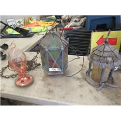 MW- Pkg of 3 Items 1) Stained Glass Swag Lamp 2) -2 Bird Feeders