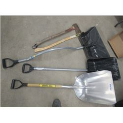 MW- 5 Items - 1Alum Shovel, 2 Snow Shovels, 1 Axe, 1 Axe Handle
