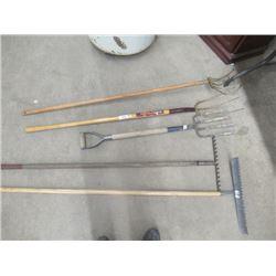 MW- 5 Items- 2 Rakes,1 Hay Fork, 1 Potato Fork 1 Scuffler