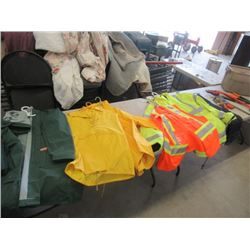MW- Package of 5 Items 1 Large Saftey Lined Jacket 1 Large Safety Vest, 3 Rain Jackets