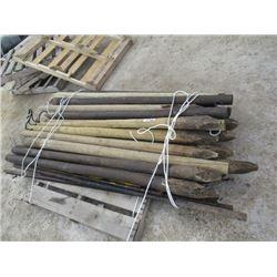 MW- 21 Treated Wood Fence Posts, 5 Steel Fence Posts