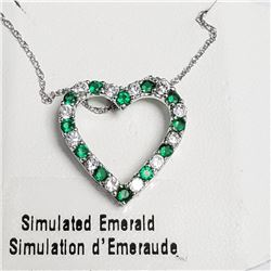 """Silver Simulation Emerald 18"""" Necklace, Suggested Retail Value $100"""