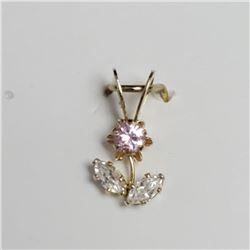 10K Yellow Gold Cubic Zirconia Pendant, Made in Canada, Suggested Retail Value $80