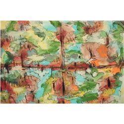 LangdonArt painting composed like a window with 4 views - peinture LangdonArt comme fenêtre 4 vues
