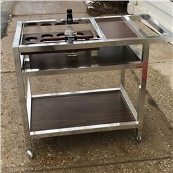 MID CENTURY CHROME BAR CART