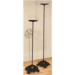 SET OF 2 ANTIQUE CAST HAT STANDS