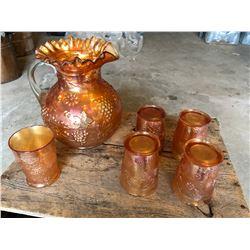 VINTAGE CARNIVAL GLASS PITCHER & GLASS SET