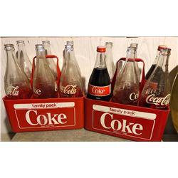 GR OF 2 VINTAGE PLASTIC COKE CARRIES