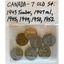 7 X CND 5 CENT COINS
