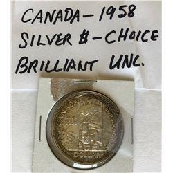 1958 CND SILVER 1 DOLLAR COIN