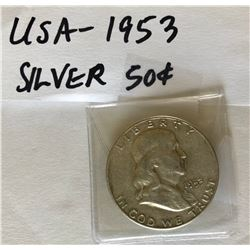 1953 USA SILVER 50 CENT COIN