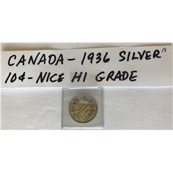 1936 CND SILVER 10 CENT COIN
