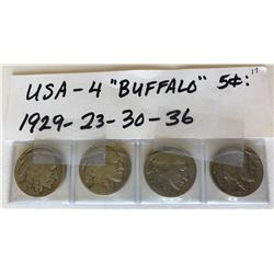 4 X 1923-29-30-36 USA BUFFALO 5 CENT COINS