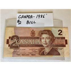 1986 CND 2 DOLLAR BILL