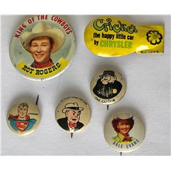 GR OF 6, VINTAGE ADVERTISING BUTTONS & CLICKERS