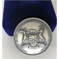 LIEUTENANT GOVERNOR OF ONTARIO STERLING SILVER PRESENTATION MEDAL