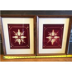 PAIR OF FRAMED ANTIQUE RUBY GLASS PANES