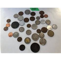 QTY OF MISC COINS FROM VARIOUS COUNTRIES