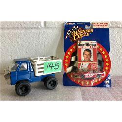 GR OF 2, TIN TOY FARM TRUCK & NASCAR # 19 TOY CAR WITH CARD