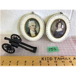 GROUPING OF VICTORIAN ERA PORTRAITS & CANNON