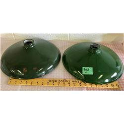 2 X GREEN PORCELAIN LIGHT SHADES
