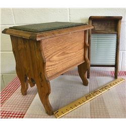 GR OF 2 ANTIQUES - OAK STORAGE STOOL & SMALL PEARL WASHBOARD