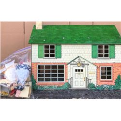 MARX VINTAGE TIN DOLL HOUSE WITH ACCESSORIES