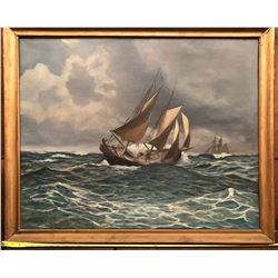 M. JAHNS OIL PAINTING OF A SAILBOAT ON CANVAS