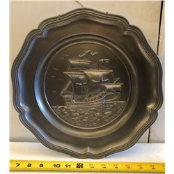 SAILING SHIP DECORATIVE PEWTER PLATE - GERMANY