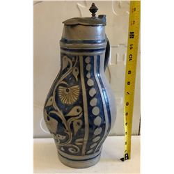 HISTORIC BLUE CROCKERY COVERED URN - EXCEPTIONAL FIND