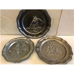 GR OF 3 PEWTER PLATES WITH HAMMERED SCENES